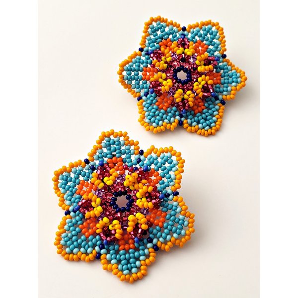2020 Official Poster Beaded Turquoise Flower Earrings By Treasure Jewels