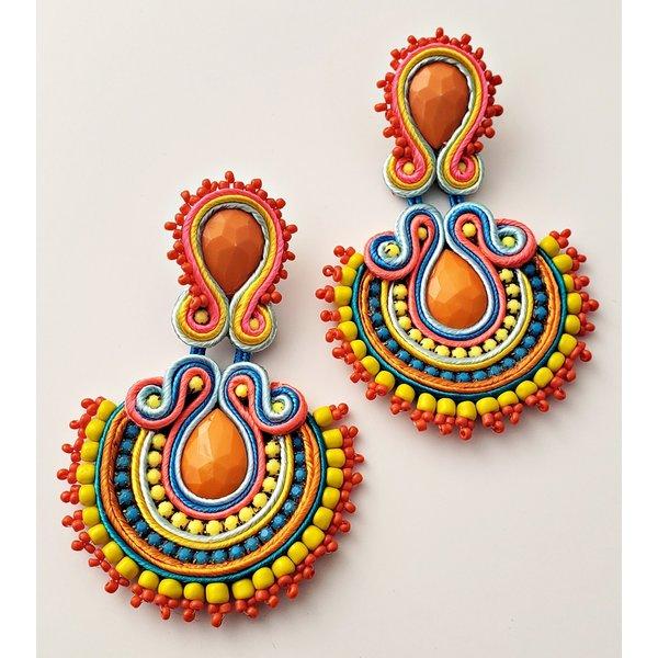 Orange-Yellow-Blue Abanico Earring-20