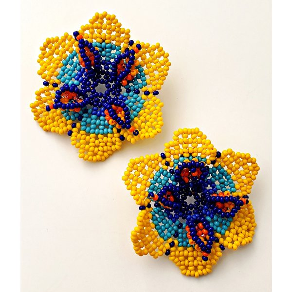 2020 Official Poster Beaded Yellow Flower Earrings By Treasure Jewels