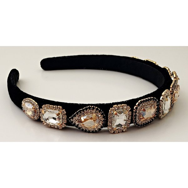Black Multi Rhinestone Thin Headband-20