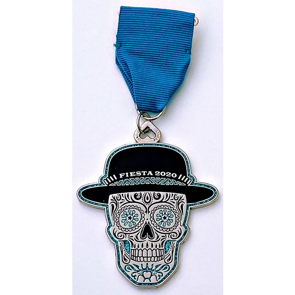 #64B- Diana's Medals- Turquoise Skull Medal- 2020