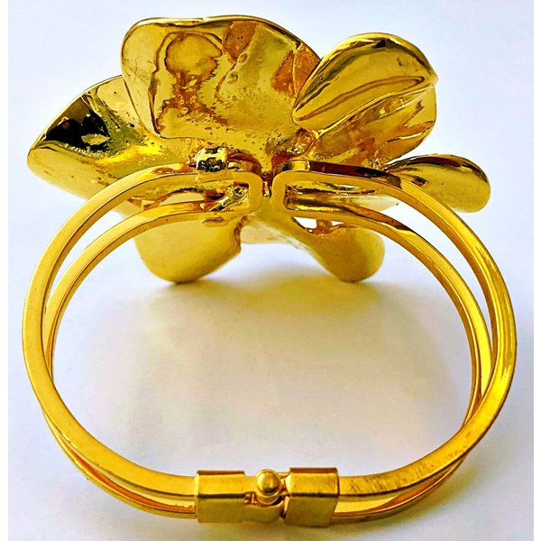 Big Gold-tone Flower Bracelet-20