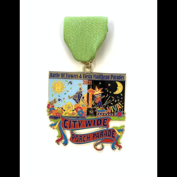 2021 Battle of Flowers & Fiesta Flambeau Porch Parade Medal