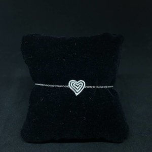 Amour 18k White Gold 0.25ct Diamond Heart Bracelet