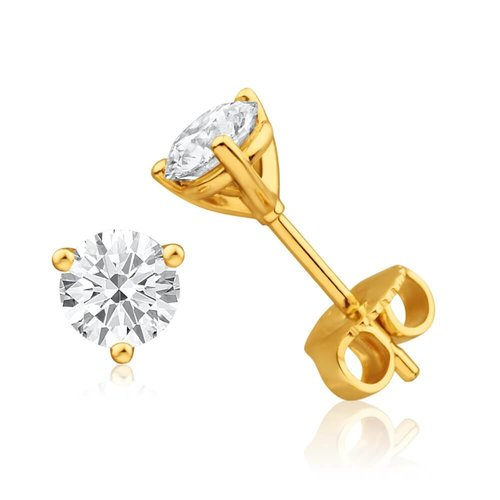 Hearts on Fire Fashion 0.50ct Three Prong Stud Earrings