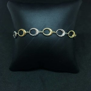 "Amour 10k Yellow & White Gold 7"" Oval Link Bracelet"