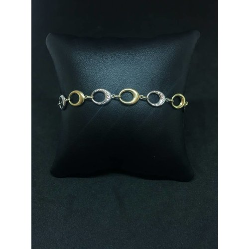 """Amour 10k Yellow & White Gold 7"""" Oval Link Bracelet"""