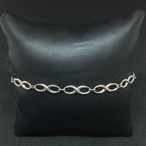 "Amour 10k White Gold 7.5"" Infinity Ladies Bracelet"