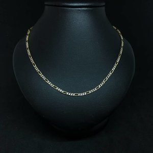 """Amour 16""""10k Yellow & White Gold Semi-Solid Figaro Link Chain"""