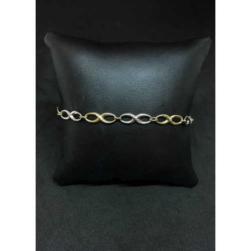 """Amour 10k Yellow & White Gold  7.5"""" Infinity Link Bracelet"""