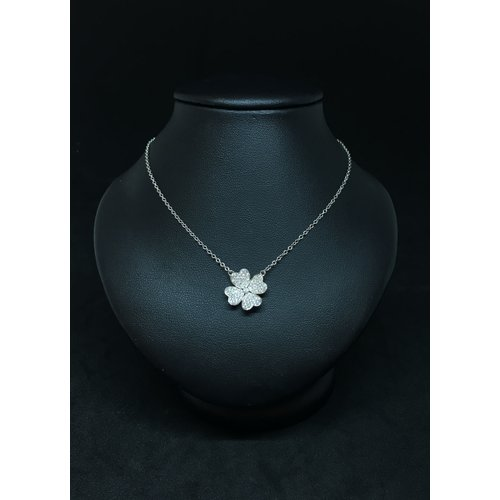 Amour 18k White Gold 0.45ct Diamond Clover Heart Necklace