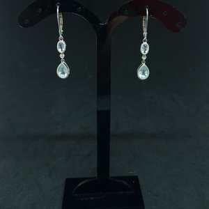 Amour 10k White Gold 0.05cts Diamond and Aquamarine Drop Earrings