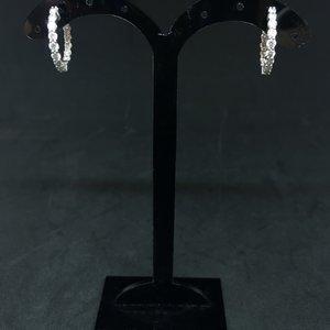 Amour 14k White Gold 0.90ct Diamond Hoop Earrings