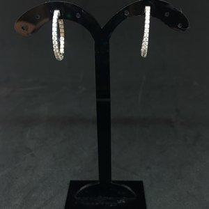 Amour 14k White Gold 1.00ct Diamond Hoop Earrings