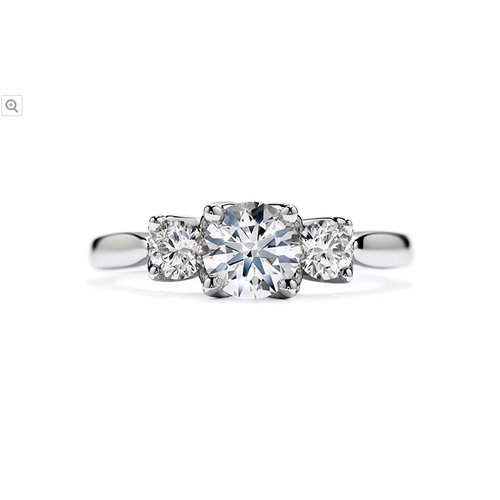 Hearts On Fire Simply Bridal Leaf Three-Stone Engagement Ring