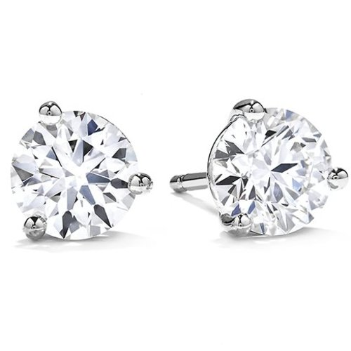 Hearts on Fire Fashion 0.72ct Three Prong Stud Earrings