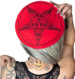 kreepsville 666 GOAT HEAD BERET HAT - RED