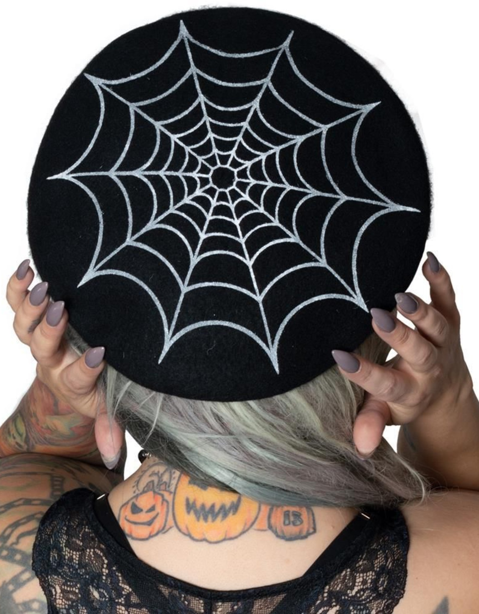 WEB BERET HAT - BLACK