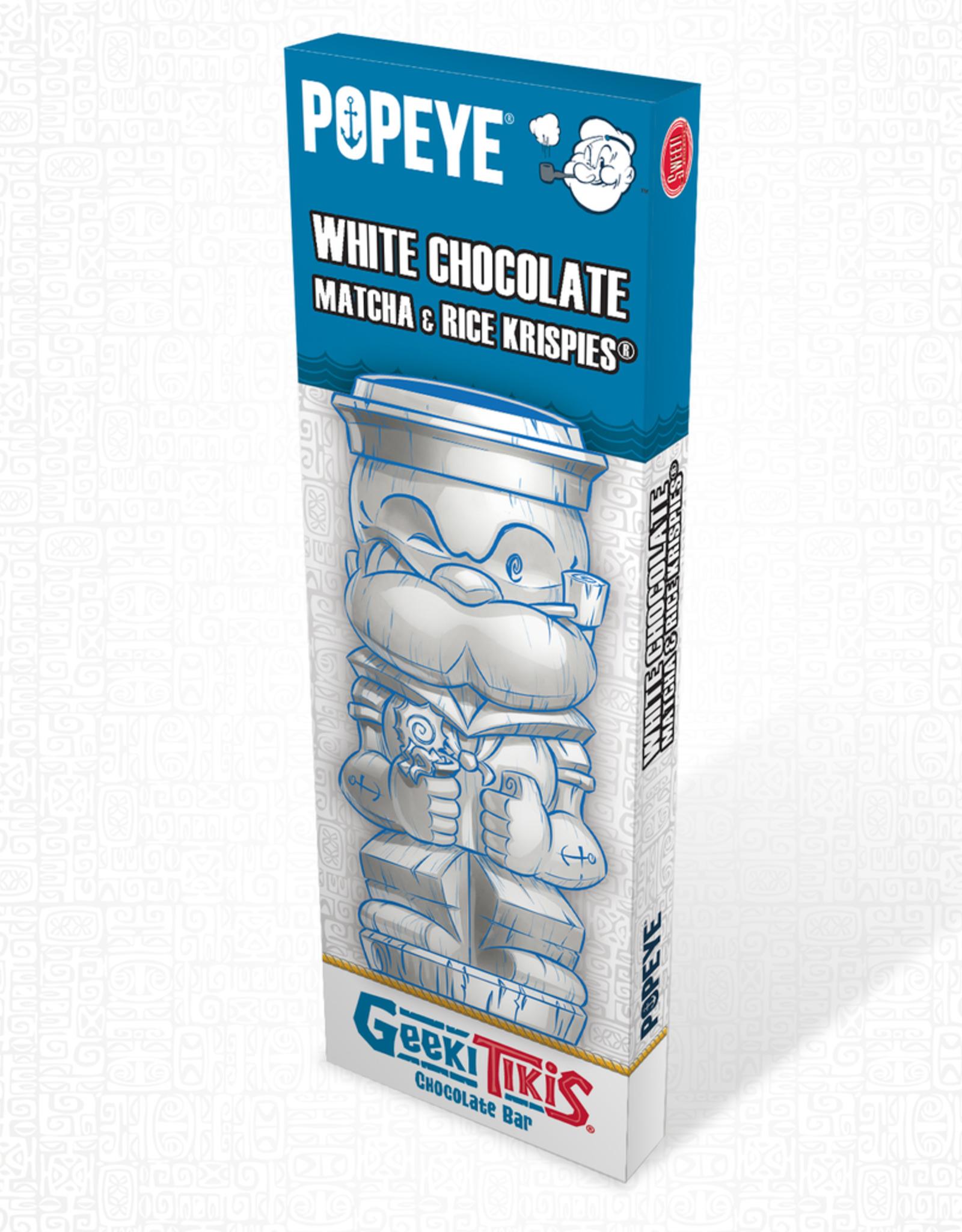 Popeye Geeki Tikis Popeye Chocolate Bar White Chocolate, Matcha, Rice Krispies