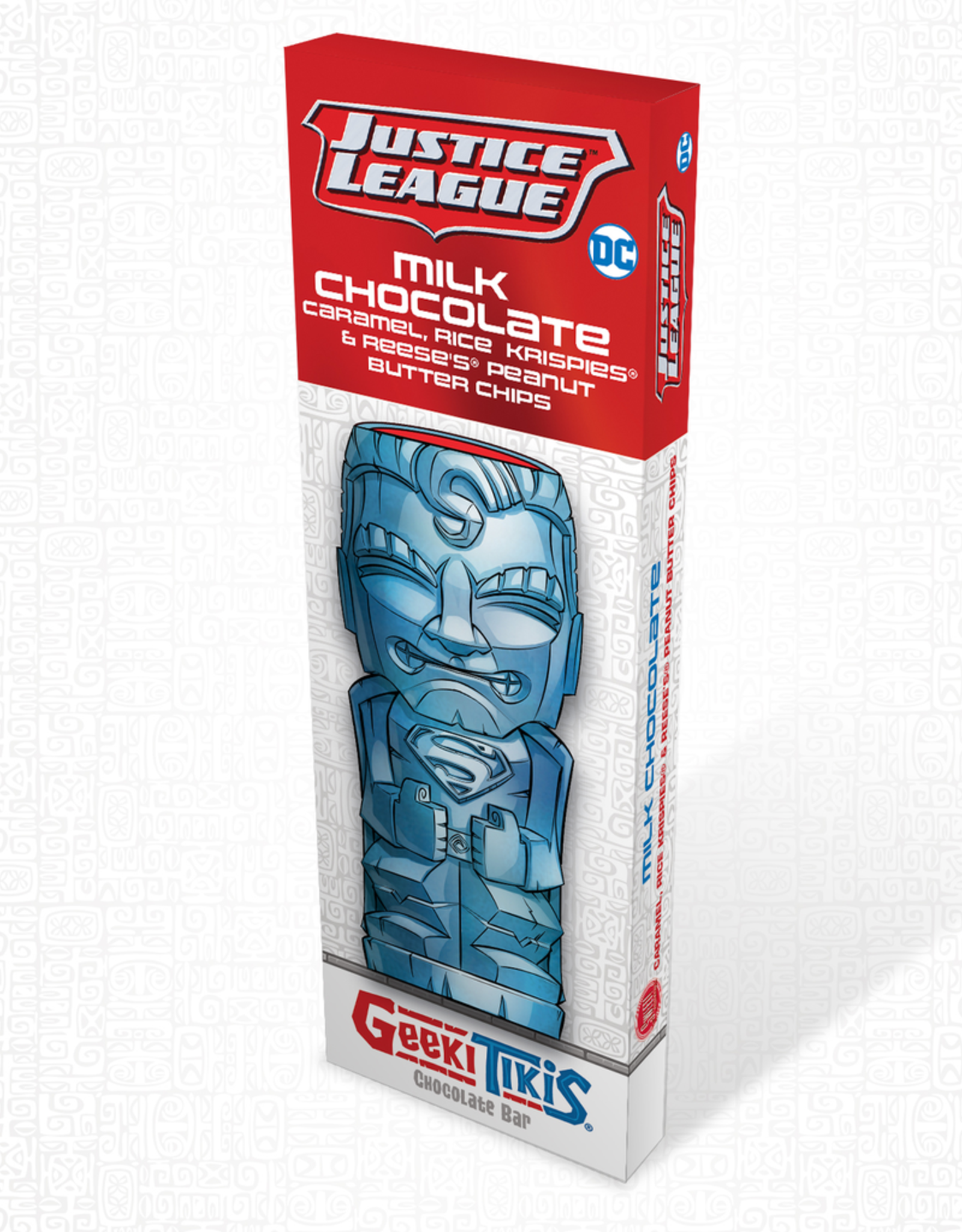 DC Comics Geeki Tikis Justice League SuperMan Chocolate Bar Milk Chocolate, Caramel, Rice Krispies, & Reese's Peanut Butter Chips