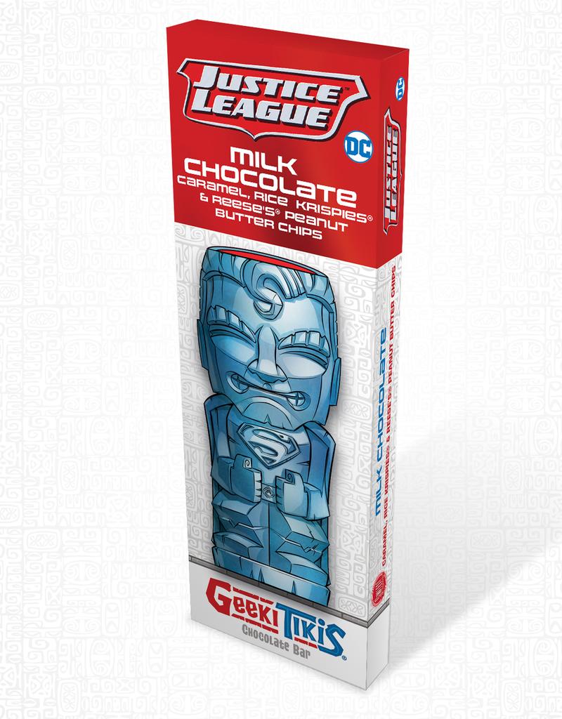 DC Comics Geeki Tikis Justice League SuperMan Chocolate Bar Milk Chocolate, Caramel, Rice Krispies, & Reese's Peanut Butter Chips