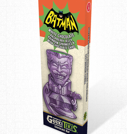 DC Comics Geeki Tikis Batman 66 - Joker Chocolate Bar White Chocolate, Raspberry Jelly, Rainbow Sprinkles, and Milk Chocolate Chips
