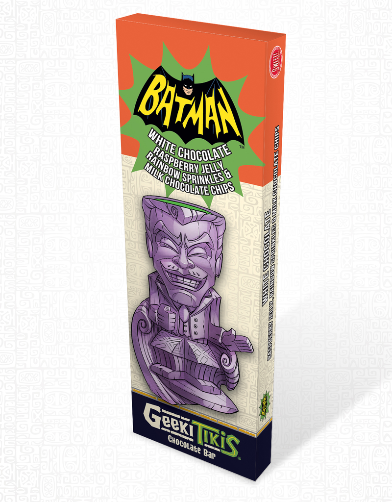 DC Comics Geeki Tikis Batman 66 - Joker Chocolate Bar White Chocolate, Raspberry Jelly, Rainbow Sprinkles, and Milk Chocolate Chips