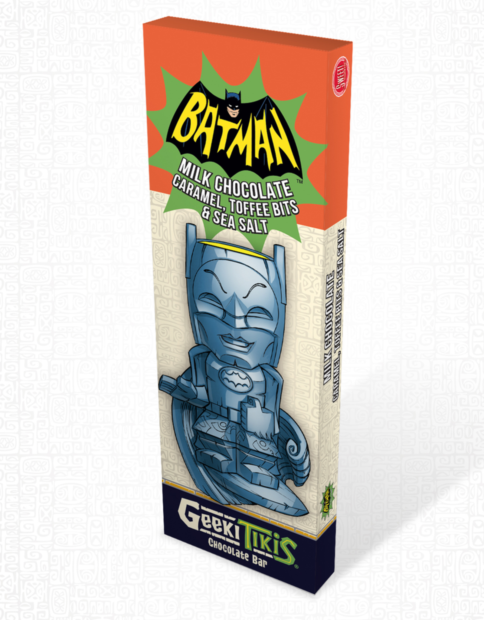 DC Comics Geeki Tikis Batman 66 - Batman Chocolate Bar Milk Chocolate, Caramel, Toffee Bits, & Sea Salt