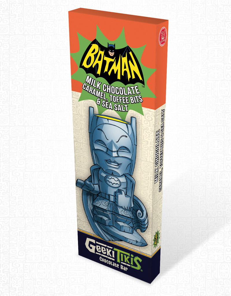 Geeki Tikis Batman 66 - Batman Chocolate Bar Milk Chocolate, Caramel, Toffee Bits, & Sea Salt