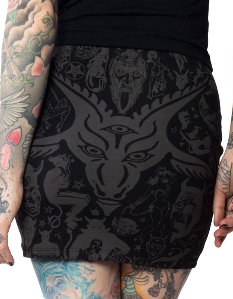 Goat Head Mini Skirt Grey