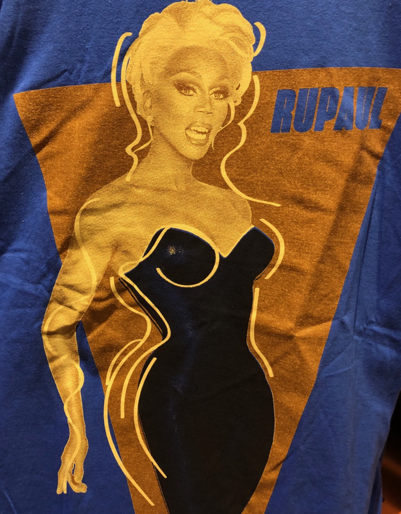 RuPaul Black Dress T - Blue Shirt
