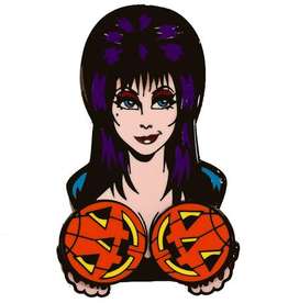 Elvira Spinning Pumpkins Enamel Pin