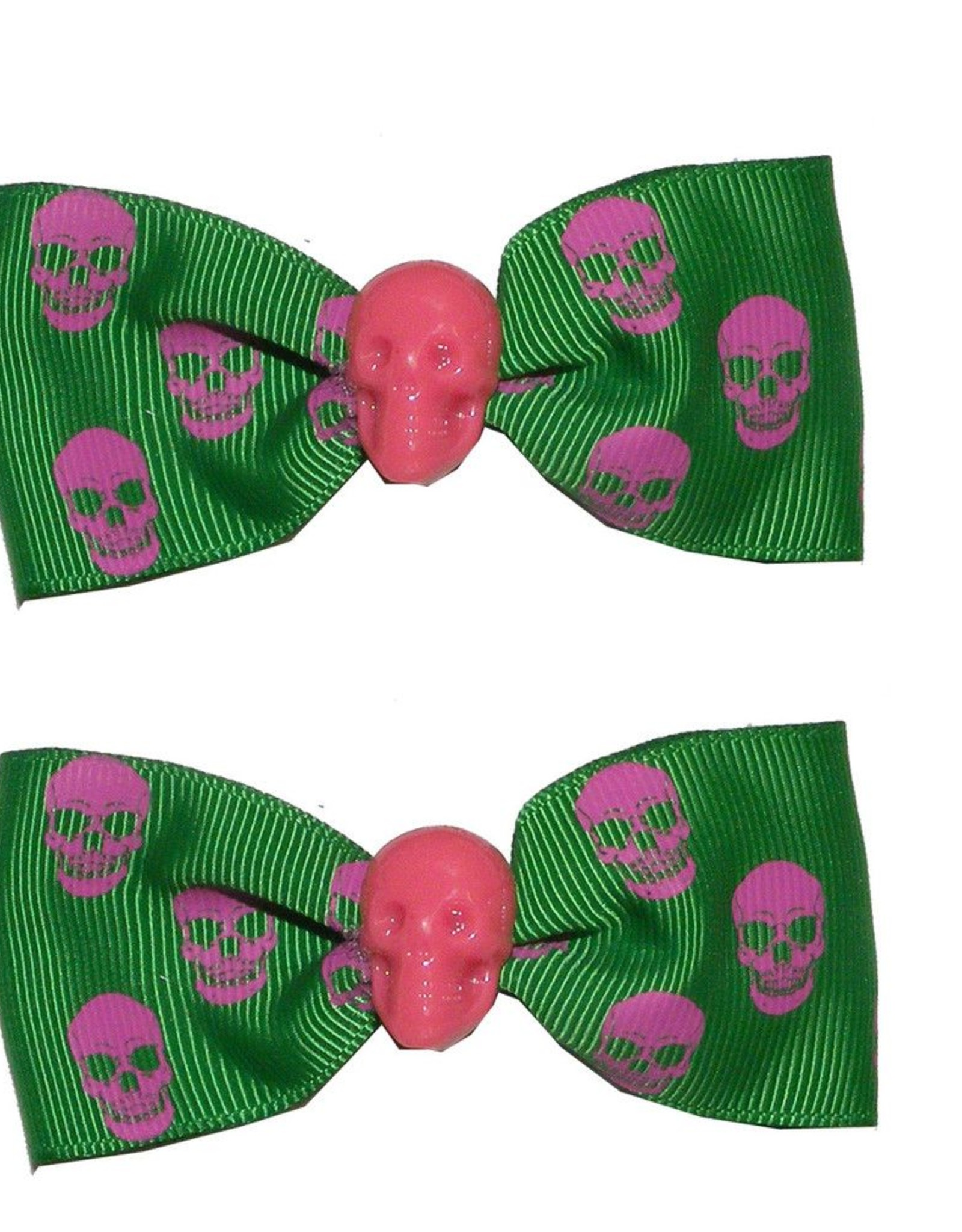 Hair Bow Pair Green Skull *DS