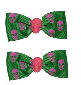 Hair Bow Pair Green Skull *DS