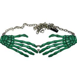 Skeleton Bone Hand Necklace - Green