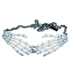 Skeleton Bone Hand Necklace - White