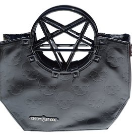Pentagram Handle Purse Bag - Black