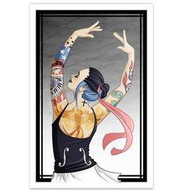 Tattooed Gothic Ballerina - 12x18 Print