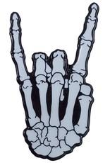 Skeleton Rock Hand Glow Enamel Pin