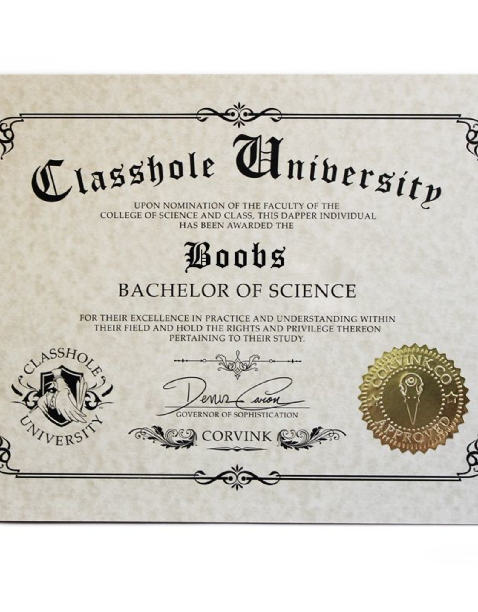 Classhole University BS Diplomas - Boobs