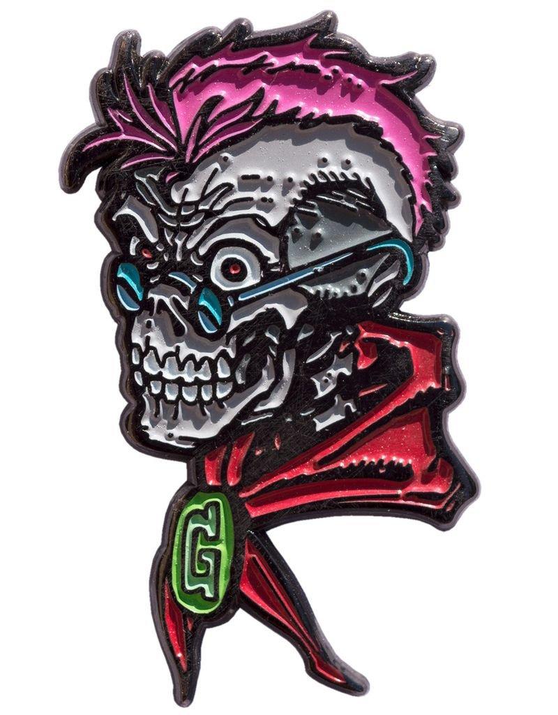 Goosebumps Curly Skull Enamel Pin