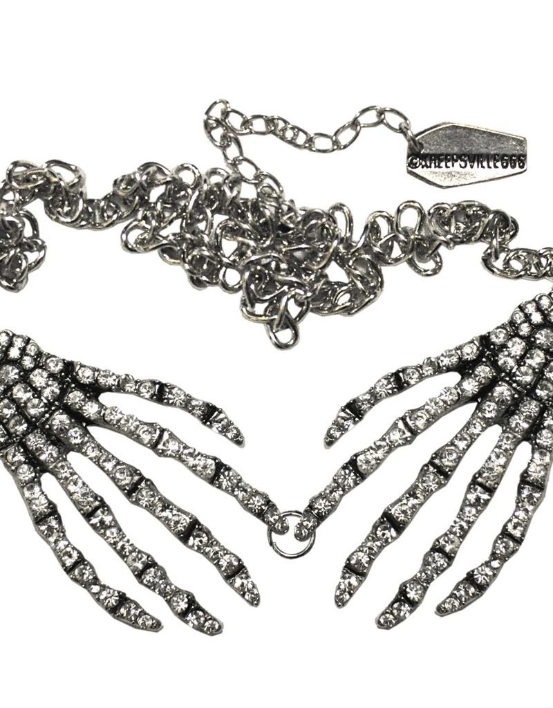 Diamonte Skeleton Hand Necklace - Clear