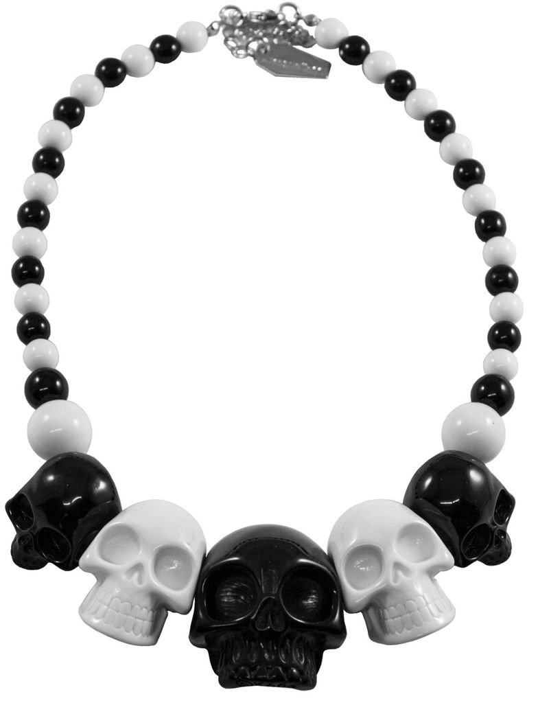 Skull Collection Necklace - 2 Tone Black/White