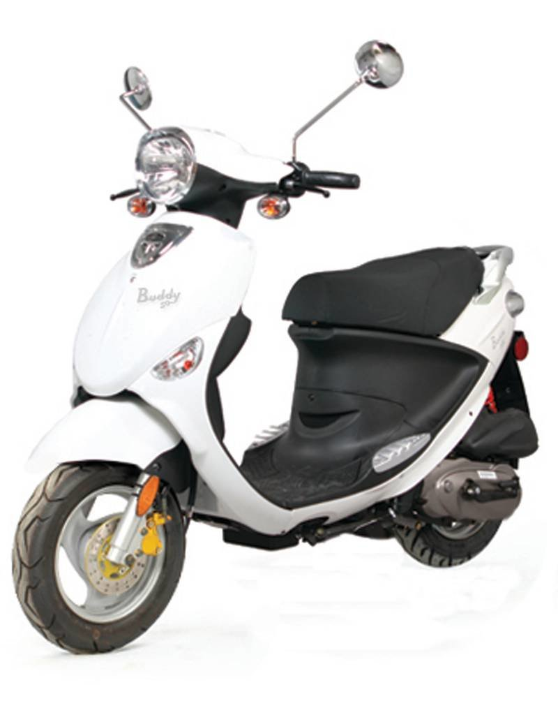 Genuine Scooters 2018 White Genuine Buddy 50cc Moped (#48)