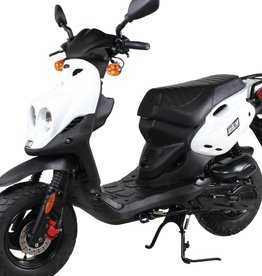 Genuine Scooters 2018 Used White Genuine Roughhouse 50cc Moped with Onguard Beast Chain (t.i.)