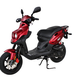 Genuine Scooters 2021 Matte Red Genuine Roughhouse Sport 50cc Moped