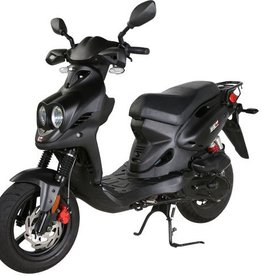 Genuine Scooters 2019 Matte Black Genuine Roughhouse Sport 50cc Moped