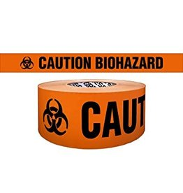 "CleanHub Orange Biohazard Barricade Tape 3"" x 1000'"