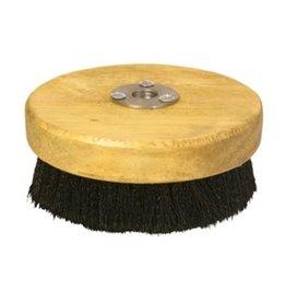 "CleanHub Round Brush 5"" - Wood Base Black Bristle, Medium"