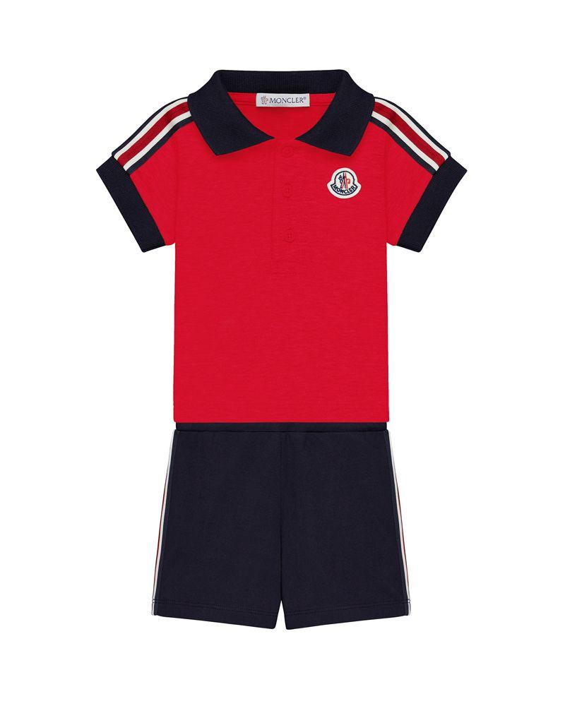 04942a5b413f MONCLER MONCLER BABY BOYS POLO   SHORT SET - Designer Kids Wear